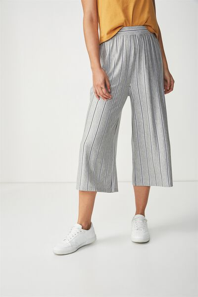 Lauren Drapey Culotte, MARY VERTICAL STRIPE GREY MARLE