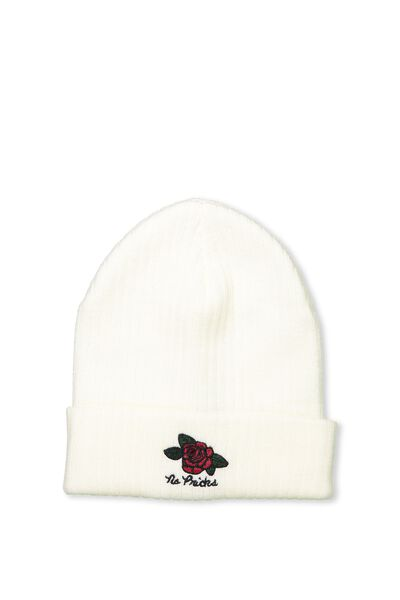 Baroque Embroidered Beanie, MILK