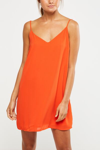 Woven Margot Slip Dress, FLAMENCO