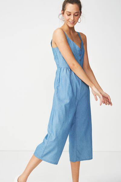 Woven Tors V Neck Jumpsuit, CHAMBRAY