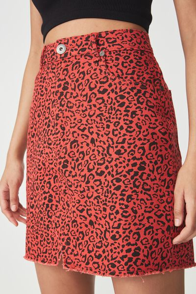 The Re-Made Mini Denim Skirt, RED LEOPARD