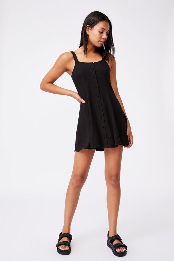 Woven Blair Button Through Strappy Mini Dress Peti, BLACK
