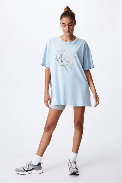 Oversized Graphic T Shirt Dress, FLOWER KEEPER/WASHED BLUE