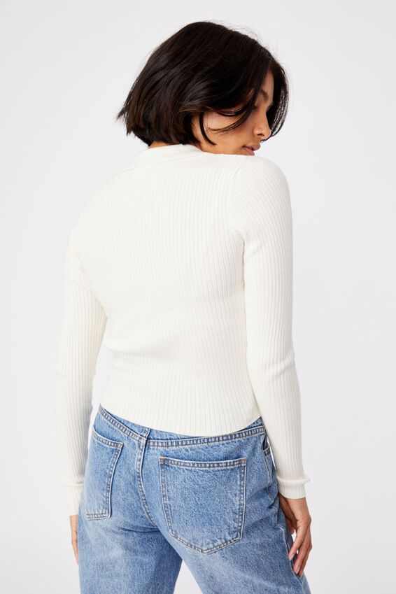 Long Sleeve Knit Rib Polo, LUNAR WHITE