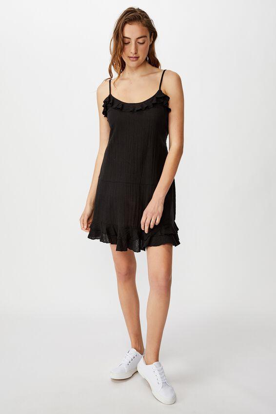 Woven Breanna Ruffle Mini Dress, BLACK