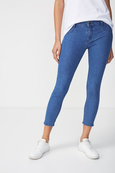 Mid Rise Capri Jegging, RETRO BLUE