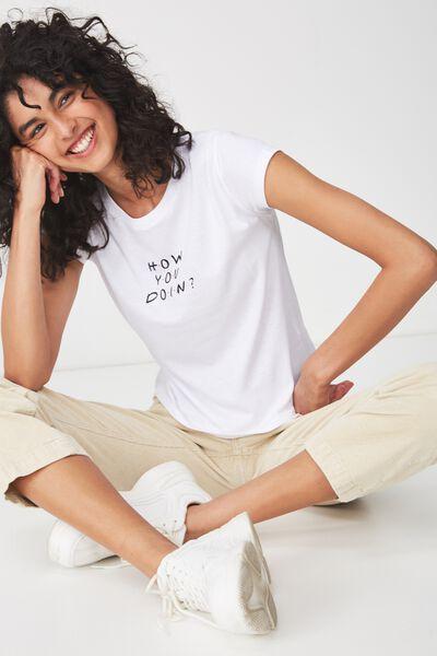 Tbar Rachael Graphic Tee Shirt, LCN FRIENDS HOW YOU DOIN/WHITE