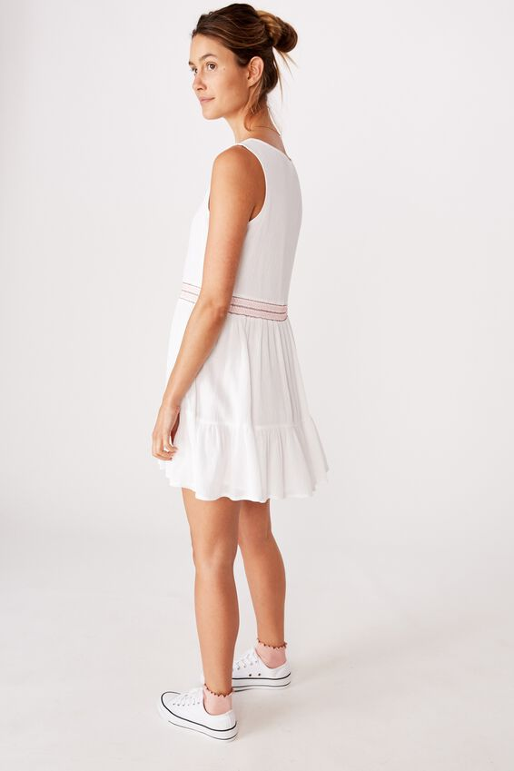 Woven Bronwyn Sleeveless Tiered Mini Dress, WHITE/STITCH