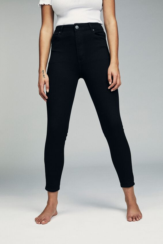High Rise Cropped Skinny Jean, CORE BLACK