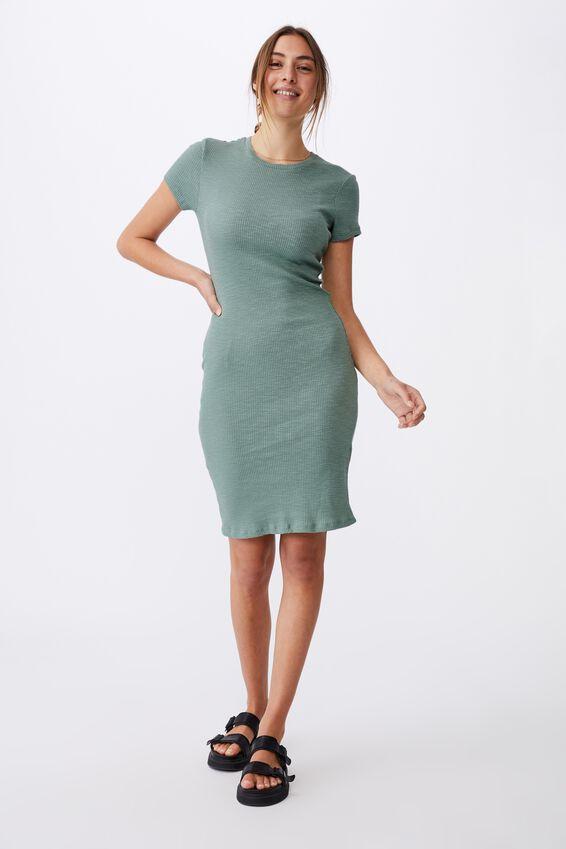 Essential Short Sleeve Midi Dress, LUSH GREEN RIB