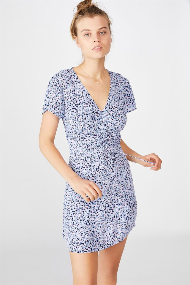 Woven Marissa Gathered Front Mini Dress, QUINN DITSY MEDIEVAL BLUE