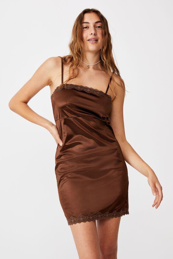 Lara Lace Strappy Mini Dress, WOODLAND BROWN