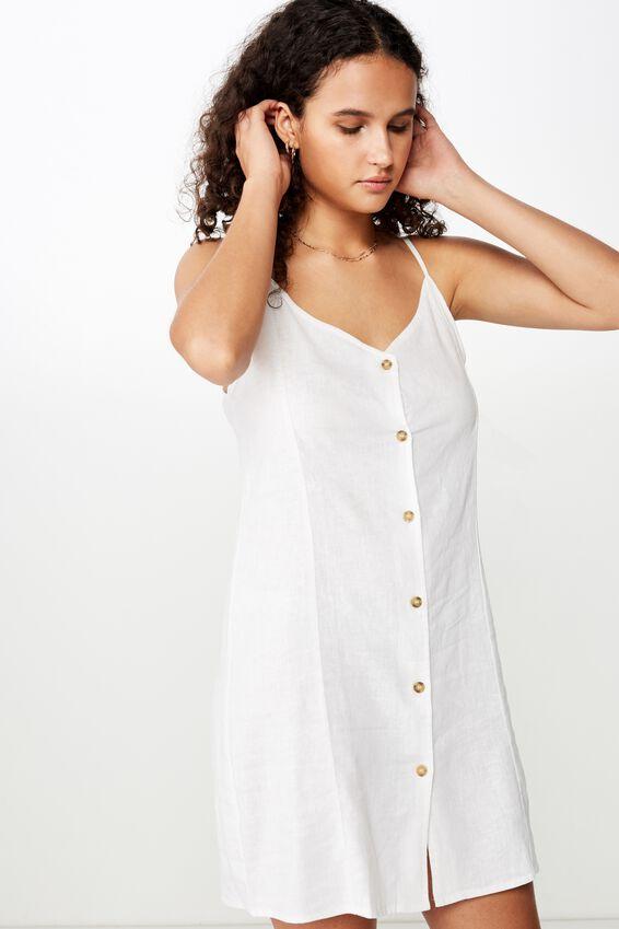Woven Maisy Strappy Mini Dress, WHITE