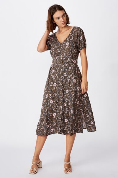 Woven Chloe Puff Sleeve Midi Dress, JORDYN FLORAL RAVEN