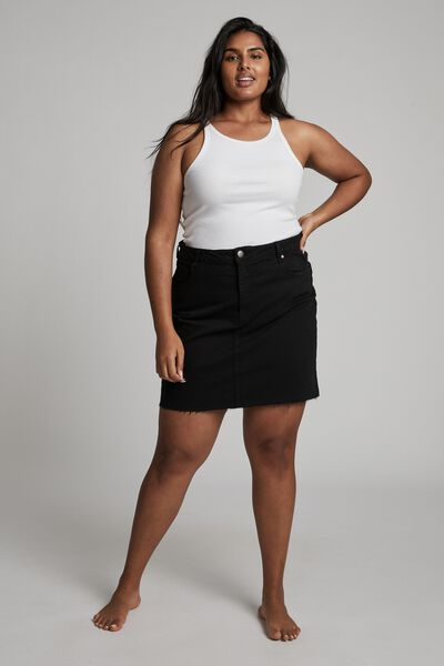Curve Denim Mini Skirt, BLACK