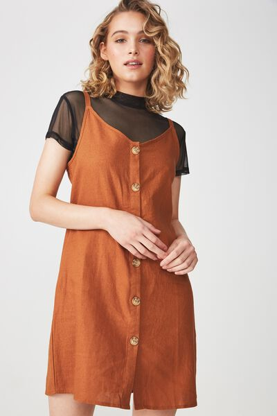 Woven Margot Slip Dress, BUTTON THROUGH UMBER BROWN
