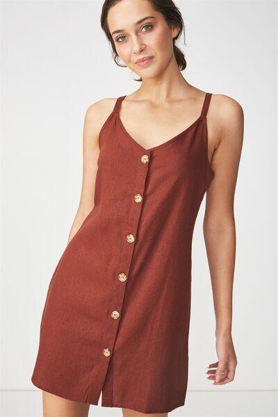 Woven Margot Slip Dress, BUTTON THROUGH RICH BROWN