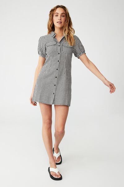 Woven Petite Iggy Shirt Dress, KAYLA MICRO GINGHAM BLACK