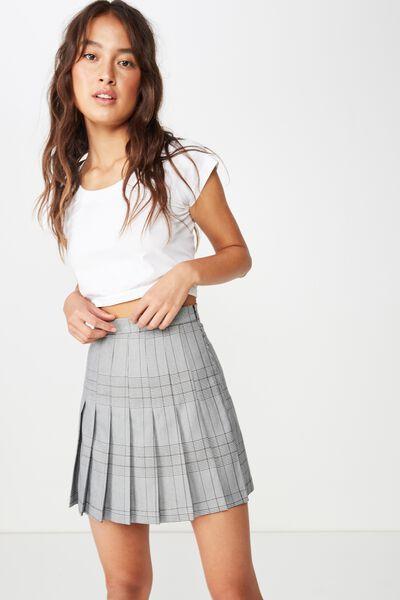 Woven Alicia Pleated Mini Skirt, BLACK AND WHITE POW CHECK
