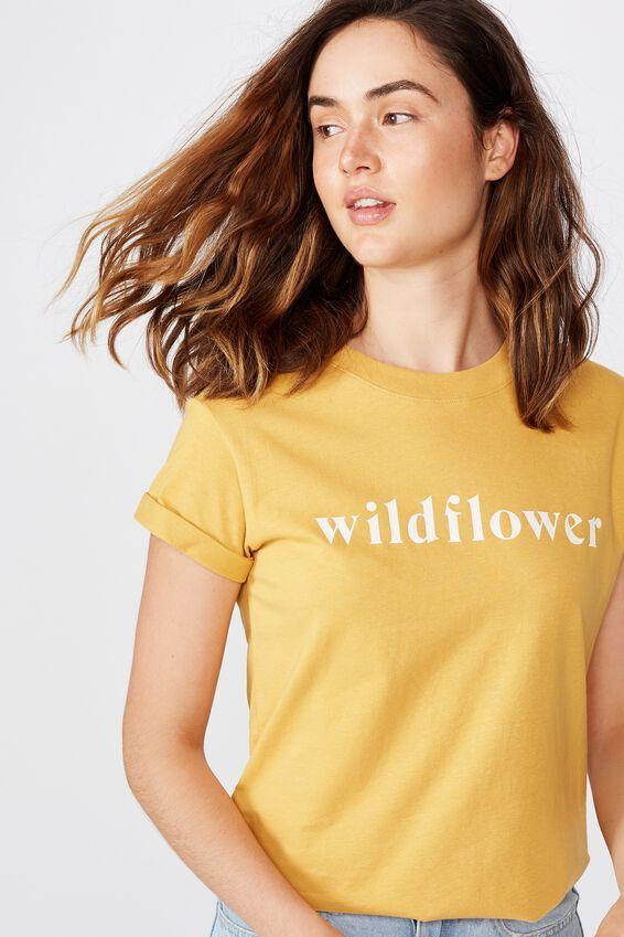 Classic Slogan T Shirt, WILDFLOWER/BRIGHT GOLD