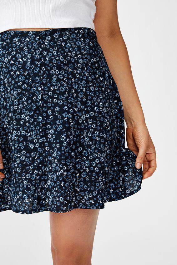 Allegra Button Through Mini Skirt, FRANKIE DAISY TOTAL ECLIPSE