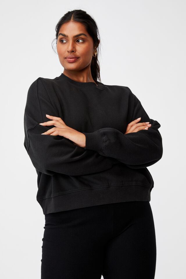 Curve Classic Crew Neck Pullover, WASHED BLACK