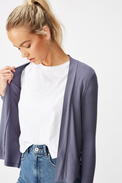 Danielle Long Sleeve Cardi, GRISAILLE