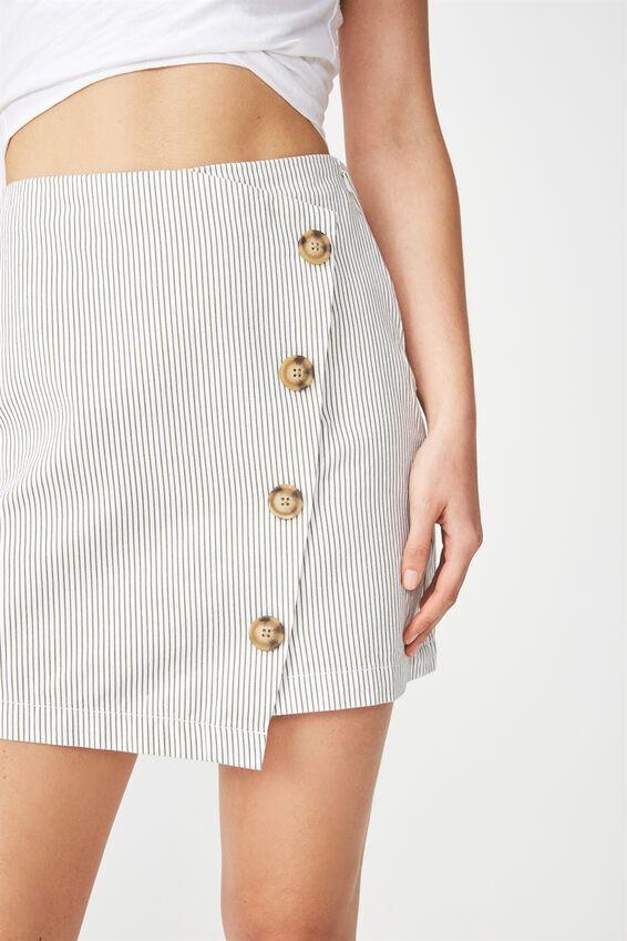 Woven Lulu Mini Skirt, SOFT KHAKI/WHITE PIN STRIPE