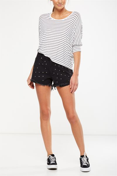 Mid Rise Saturday Denim Short, STUDDED BLACK CUFFED