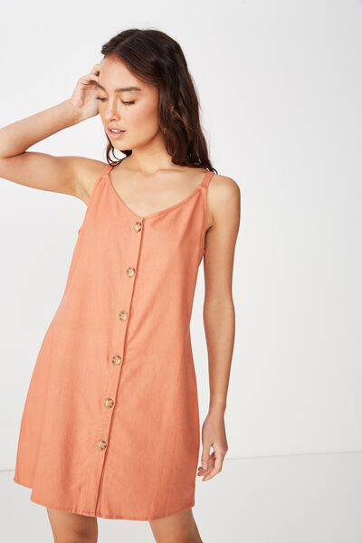 Woven Margot Slip Dress, BUTTON THROUGH SUNBURN