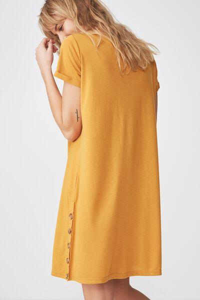 Tina Tshirt Dress 2, SIDE BUTTON SPRUCE YELLOW