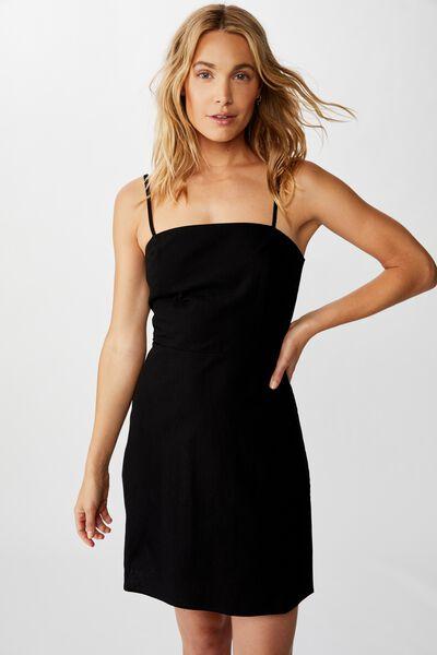 Woven Renee Strappy Mini Dress, BLACK