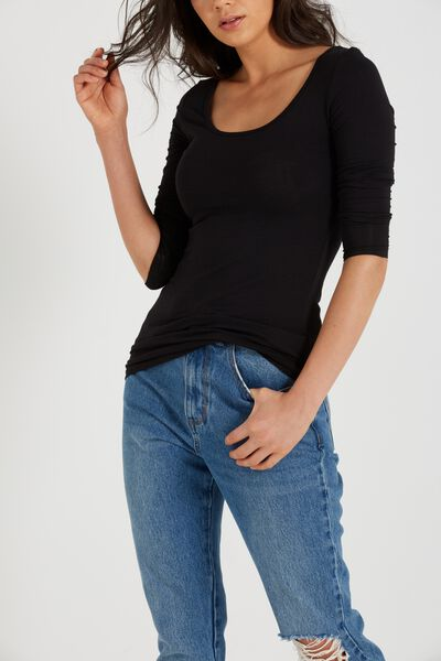 Every Day Long Sleeve Fitted Top, BLACK