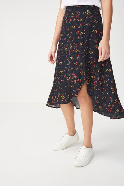 Woven Dana Drapey Midi Skirt, MELISSA FLORAL SMALL MOONLIGHT