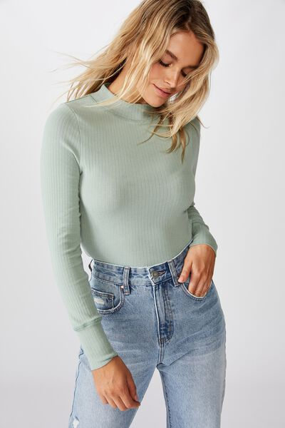Ryder Mock Neck Long Sleeve Top, WASHED JADE GREEN/TONAL STITCH