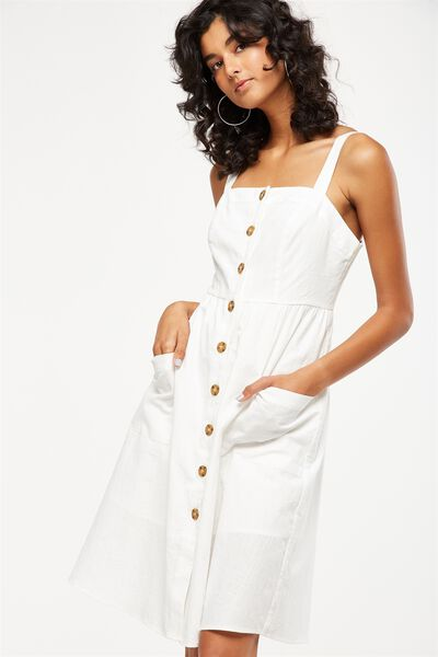 Woven Lottie Midi Dress, WHITE TEXTURE