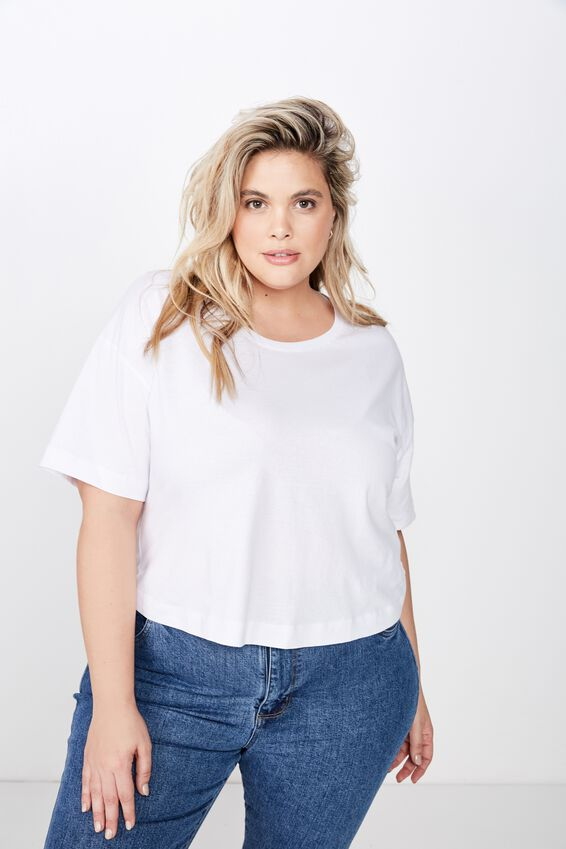 Curve Mid Sleeve Oversize Crop, WHITE