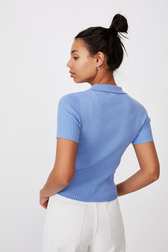 Ribbed Short Sleeve Polo Knit, POOLSIDE BLUE