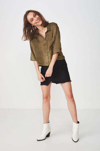Rebecca Chopped Shirt, BURNT OLIVE
