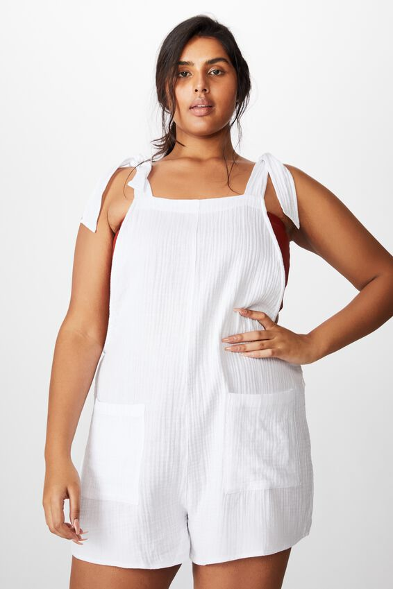 Curve Tie Up Beach Playsuit, WHITE