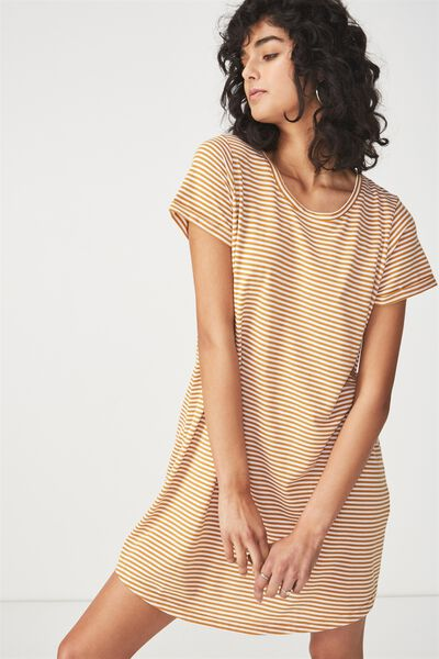 Tina Tshirt Dress 2, EVIE STRIPE SPRUCE YELLOW/WHITE