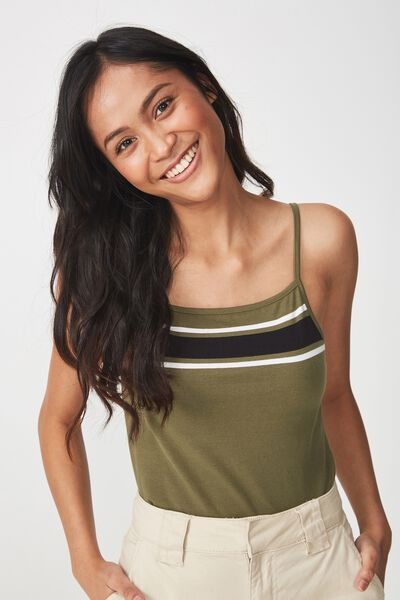 Fashion Crop Cami, MEL BLOCK PLACEMENT SOFT KHAKI/BLACK/WHITE