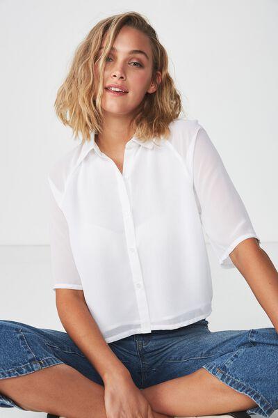 Mags Raglan Shirt, WHITE