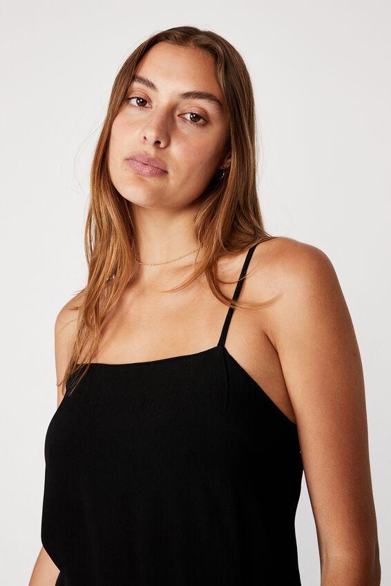 Woven Kye Strappy Mini Dress, BLACK