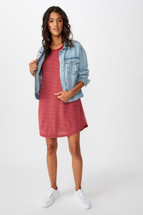 Tina Tshirt Dress 2, JENNY STRIPE GARNET