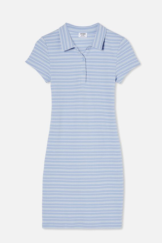 Riley Short Sleeve Polo Mini Dress, BIANCA STRIPE BLUE