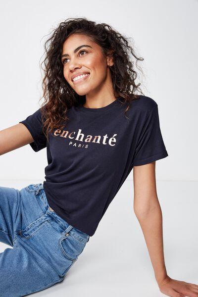 Classic Slogan T Shirt, ENCHANTE/MOONLIGHT