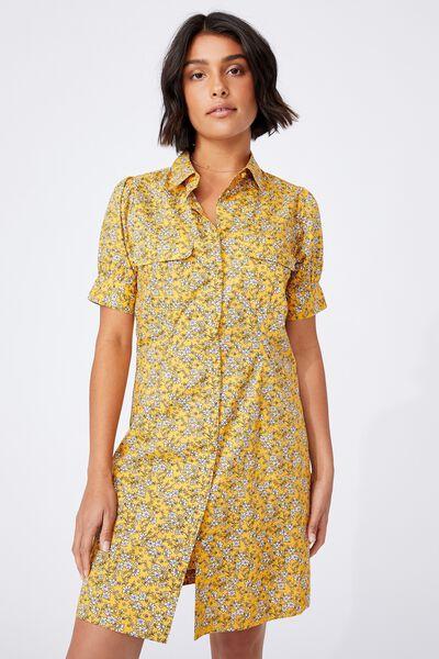 Woven Dolly Seersucker Shirt Dress, YELLOW FLORAL