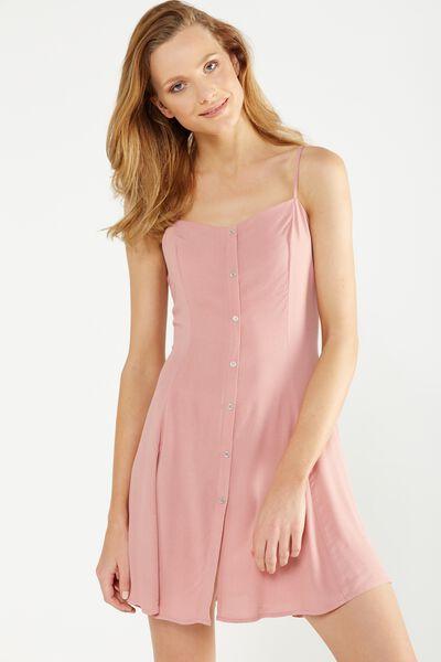 Woven Krissy Dress, BUTTON THROUGH ANTIQUE MAUVE