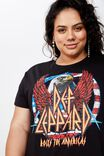 Curve Graphic License Tee, LCN DEF LEPPARD EAGLE/BLACK WASH